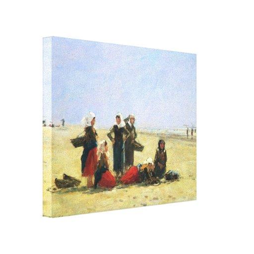 Mulheres de Eugene Boudin- na praia em Berck Impressão De Canvas Esticadas