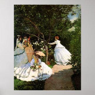 Mulheres de Monet no poster do jardim Pôster