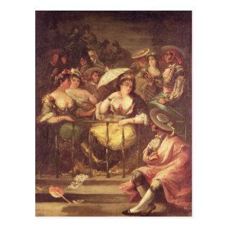 Mulheres em um balcão, 1859 cartão postal