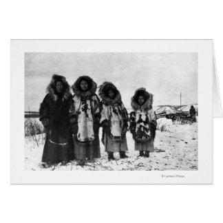Mulheres Eskimo na fotografia de Alaska Cartoes