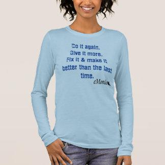 mulheres longas da luva da emoção camiseta manga longa