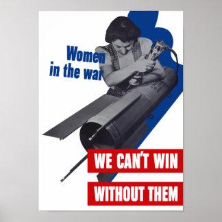 Mulheres na guerra -- Propaganda de WWII Pôster