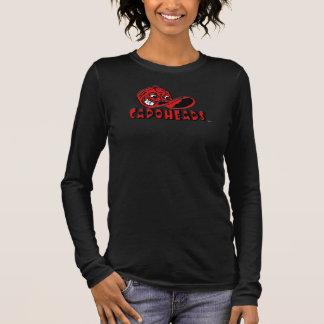 Mulheres pretas & T longo vermelho de CapoHeads da Camiseta Manga Longa
