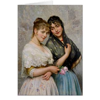 Mulheres Venetian CC0438 de Eugene von Blaas dois Cartoes