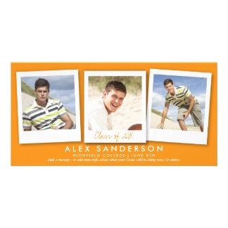 Multi anúncio alaranjado da graduação da foto cartão com foto