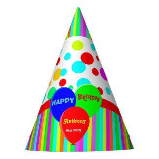 Multi balões coloridos personalizados chapéu de festa