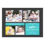 Multi cartão retro da foto boas festas convite personalizado