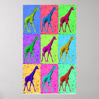 Multi-Cor de passeio do girafa de Popart do pop Pôster