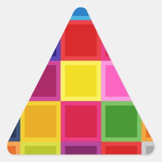Multi quadrados e listras coloridos femininos adesivo triangular