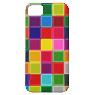 Multi quadrados e listras coloridos femininos capa barely there para iPhone 5