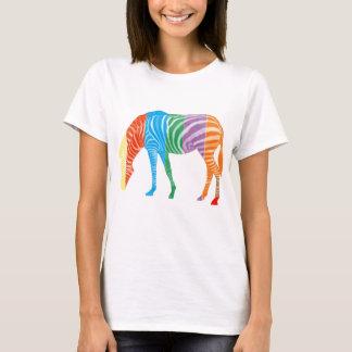 Multi zebra colorida camiseta