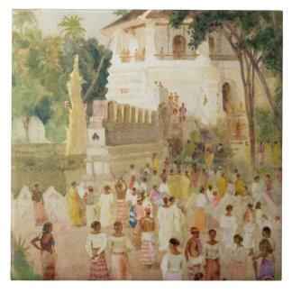 Multidões em um monumento em India, 1895 (w/c &