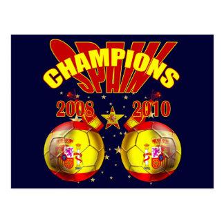 Mundo 2008 de Europa da espanha dos campeões 2010 Cartão Postal