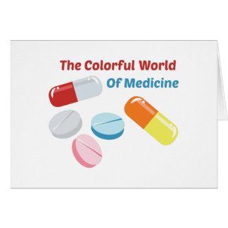 Mundo colorido da medicina cartão comemorativo