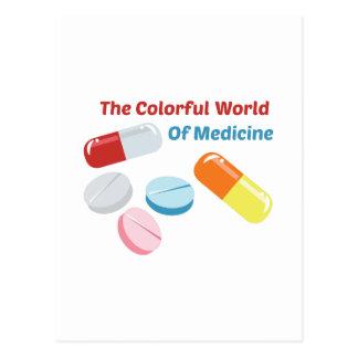 Mundo colorido da medicina cartão postal