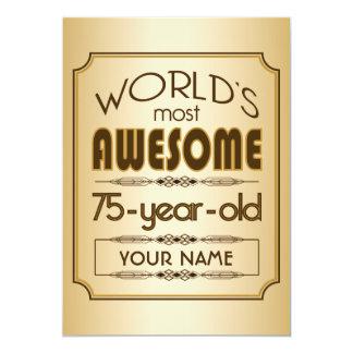 Mundo da celebração do aniversário do ouro 75th convites personalizados