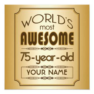 Mundo da celebração do aniversário do ouro 75th convite quadrado 13.35 x 13.35cm