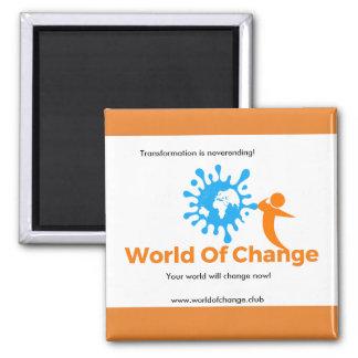 Mundo da imã de geladeira da mudança