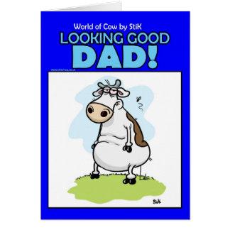 Mundo do cartão do dia dos pais da vaca