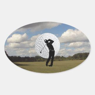 Mundo do golfe adesivo oval