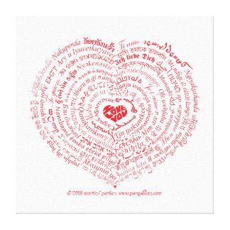 Mundo do impressão das canvas do coração do amor