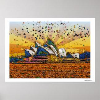 Mundo psicadélico: Skyline A1 de Sydney Poster