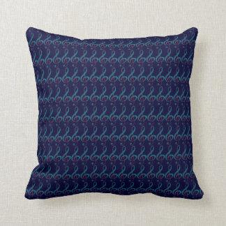 music_decorative azul dos G-clefs Travesseiro