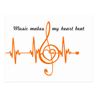 MUSIC HEART BEAT Música batida do coração Cartão Postal