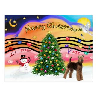 Música 2 do Natal - Airedale (suporte) Cartão Postal