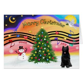 Música 2 do Natal - Briard (preto) Cartão Comemorativo