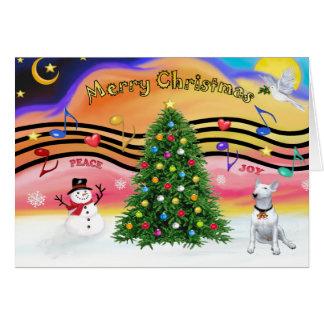 Música 2 do Natal - bull terrier 1 Cartao