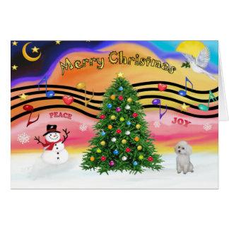 Música 2 do Natal - caniche (brinquedo branco) Cartao