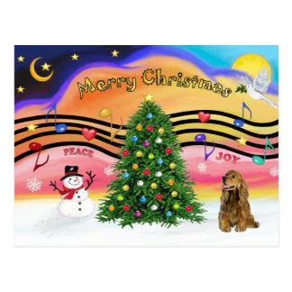 Música 2 do Natal - cocker spaniel (marrom) Cartões Postais