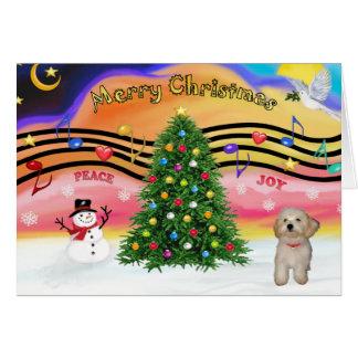 Música 2 do Natal - filhote de cachorro de Havanes Cartão