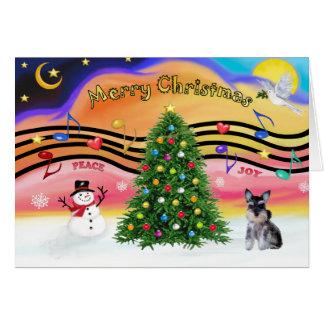 Música 2 do Natal - filhote de cachorro do Schnauz Cartão