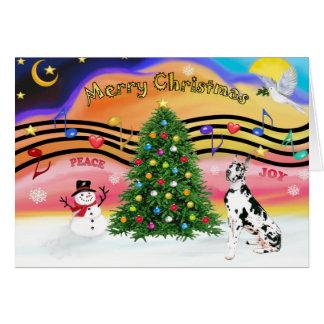 Música 2 do Natal - great dane (Harlequin) Cartão