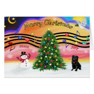 Música 2 do Natal - Pug (preto) Cartões