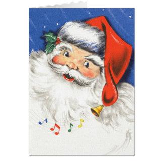 Música alegre alegre de Papai Noel w do natal vint Cartão