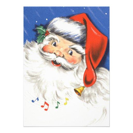 Música alegre alegre de Papai Noel w do natal vint Convite