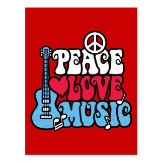 Música americana do amor da paz cartao postal