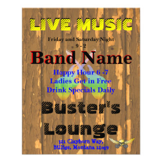 Música ao vivo 3 do clube do bar da taberna modelo de panfleto