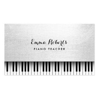Música branca elegante do professor de piano cartão de visita