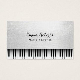 Música branca elegante do professor de piano cartão de visitas