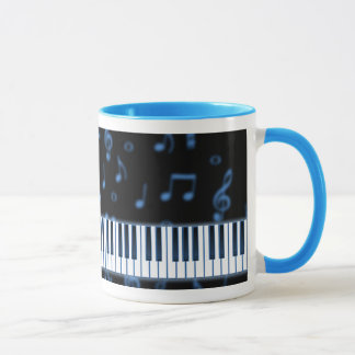 Música - caneca do azul do teclado