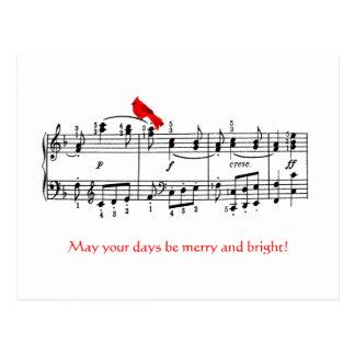 Música & cartão vermelho cardinal do Natal do Cartão Postal
