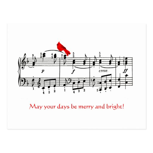 Música & cartão vermelho cardinal do Natal do Cartao Postal