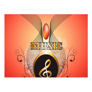 Música, clef cartao postal
