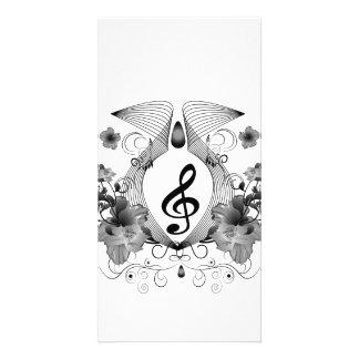 Música, clef com flores cartão com foto