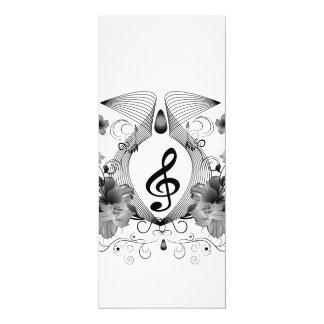 Música, clef com flores convite 10.16 x 23.49cm