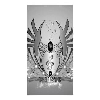 Música, clef em preto e branco cartão com foto